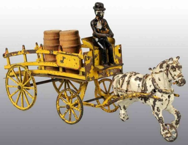 Wilkins Cast-Iron-Carriages Horse drawn dray wagon toy pulled ba a single white horse, i