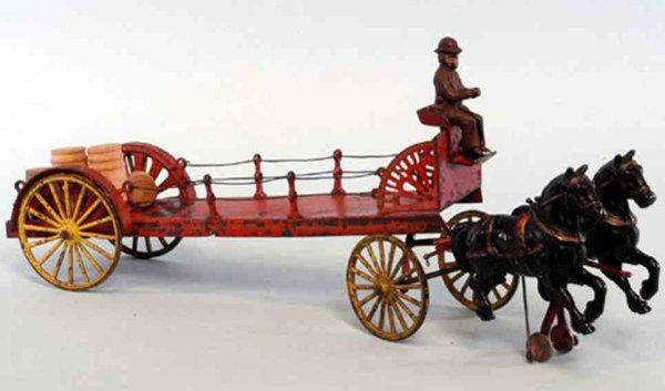 Wilkins Cast-Iron-Carriages Dray Wagon, open stake body, painted in red, yellow spoke wh