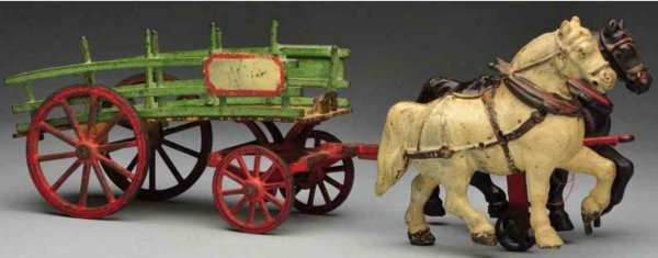 Welker & Crosby Cast-Iron-Carriages Cast iron dray wagon horse-drawn, front panel and seat are b