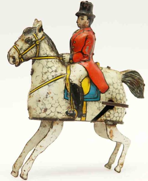 Guenthermann Tin-Figures Training of rider with white horse and clockwork and fixed k