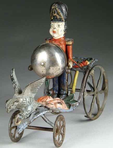 Gong Bell Cast-Iron Figures Drummer boy, bell toy, A uniformed soldier strikes the bell