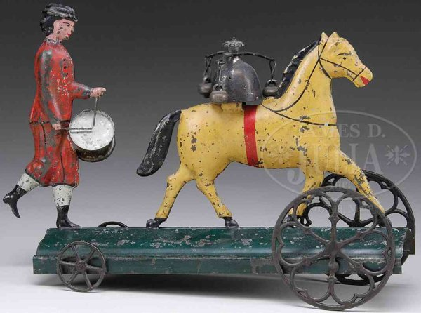 Althof Bergmann & C0 Tin-Figures Tin bell toy with drummer boy and horse, attributed  to Alth