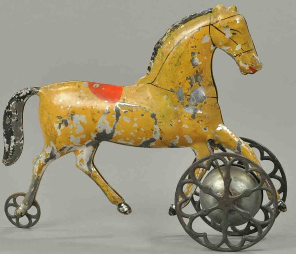 Althof Bergmann & C0 Cast-Iron Figures Brown horse as bell toy, attributed to Althof Bergmann, hand