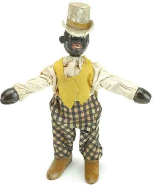 Schoenhut Wood-Figures Circus Black Dude cloth dressed jointed wood, all original c