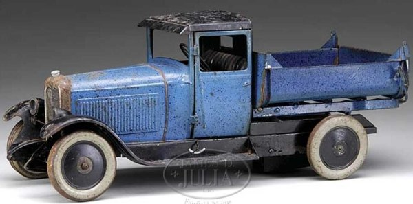 Citroen Tin-Trucks Blue dump truck except or black roof and fenders, truck is b