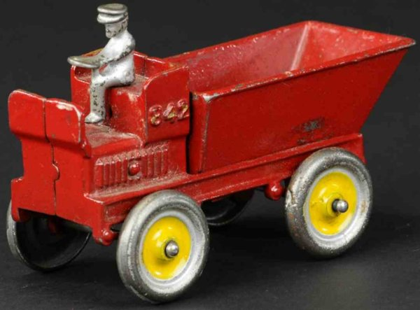 Arcade Cast-Iron trucks Auto dump wagon, cast iron, painted in red, seated driver, p