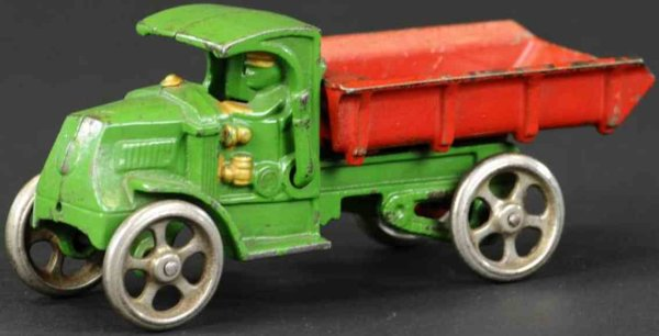 Hubley Cast-Iron trucks Mack dump truck, made of cast iron, painted in green cab and