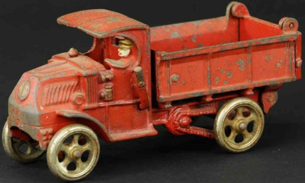Hubley Cast-Iron trucks Dump truck, cast iron, painted in red overall, interesting c
