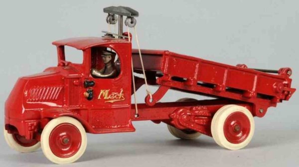 Arcade Cast-Iron trucks Mack dump truck of cast iron in red , plunger version, compl