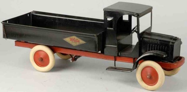 Kelmet Tin-Trucks White Big Boy crank dump truck made of pressed steel in blac