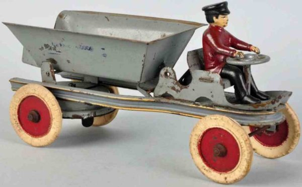 Kingsbury toys Tin-Trucks Dump truck type toy made of pressed steel in grey with origi