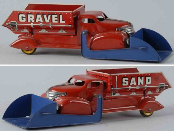 Buddy L Tin-Trucks Gravel dump truck made of pressed steel. Large size with fro