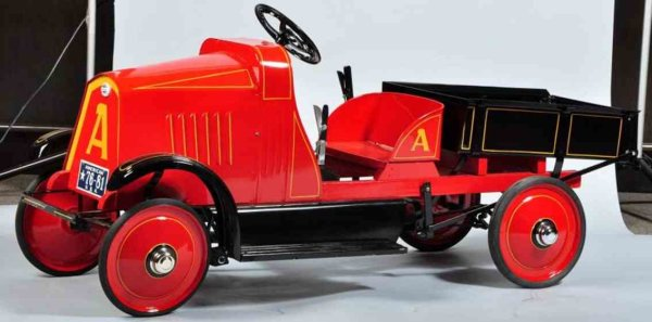 American National Co. Tin-pedal cars 5-ton dump truck pedal car with working dump bed, restored