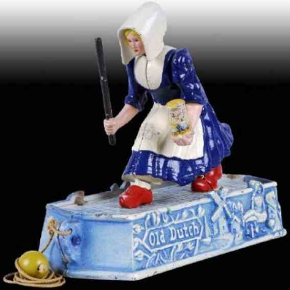 Hubley Cast-Iron Figures Dutch Cleanser Girl Chasing Dirt, side to side head motion a