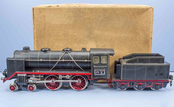 Maerklin Railway-Locomotives 20 volt locomotive #E 66/12920  with a six wheeled tender, h