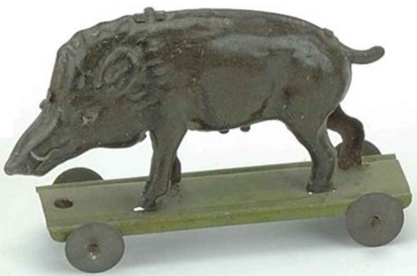 Meier Tin-Penny Toy Boar on platform, embossed lithographed made in Germany, see
