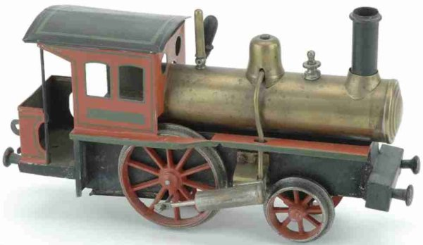 Schoenner Railway-Locomotives Live Steam Engine painted tin and brass with integral tender