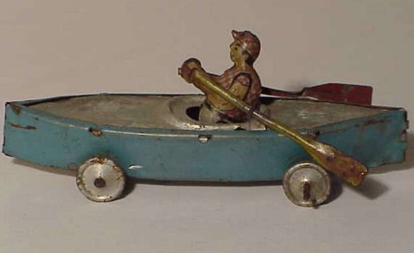 Levy George (Gely) Tin-Penny Toy Rowing oarsman boat, he bobs back and forth slightly as the