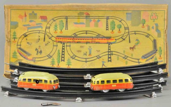 Hoefler J H Tin-Toys Train toy, made in U.S. Zone Germany, includes two tin train