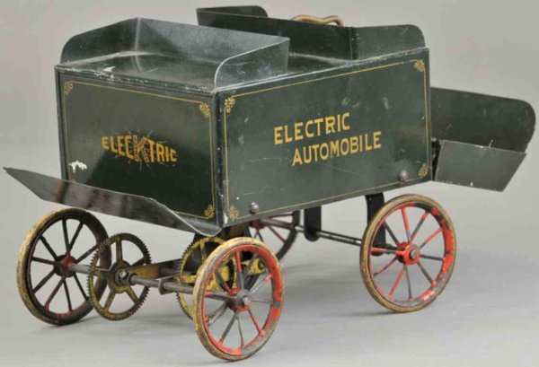 Knapp Electric and Novelty Company Tin-Oldtimer Electric automobile, tinplate body with rood base su