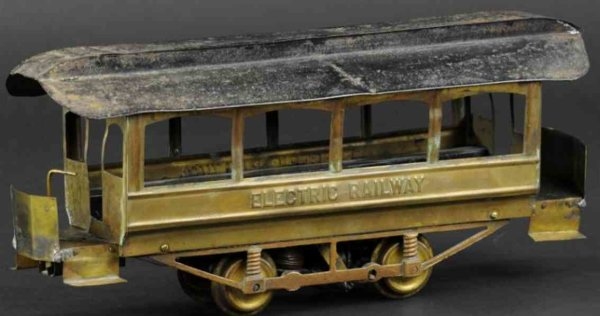 Carlisle & Finch Tin-Trams Electric railway trolley, power unit has electric motor at c