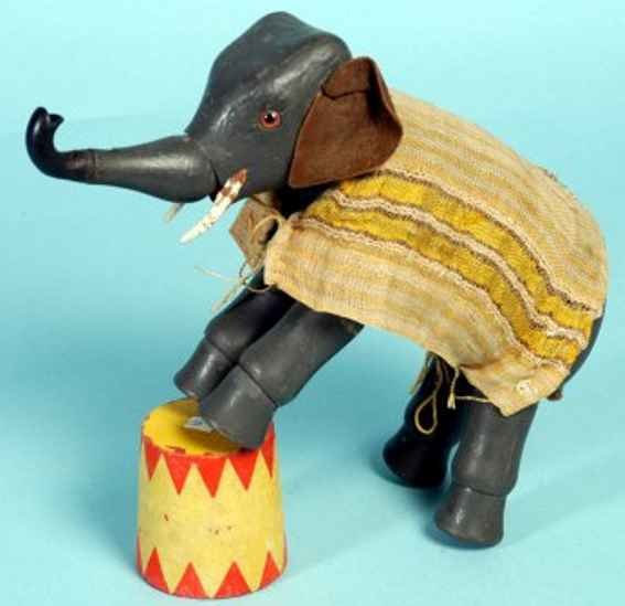 Schoenhut Wood-Animals Elephant all wooden jointed body, glass eyes, replaced leath