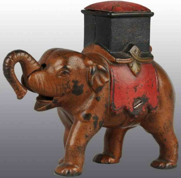 Enterprise Manufacturing Co. Cast-Iron-Mechanical Banks Cast iron elephant howdah mechanical bank ma