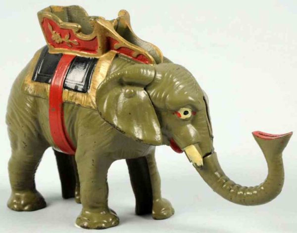 Hubley Cast-Iron-Mechanical Banks Cast iron gray elephant mechancial bank. Figural bank where