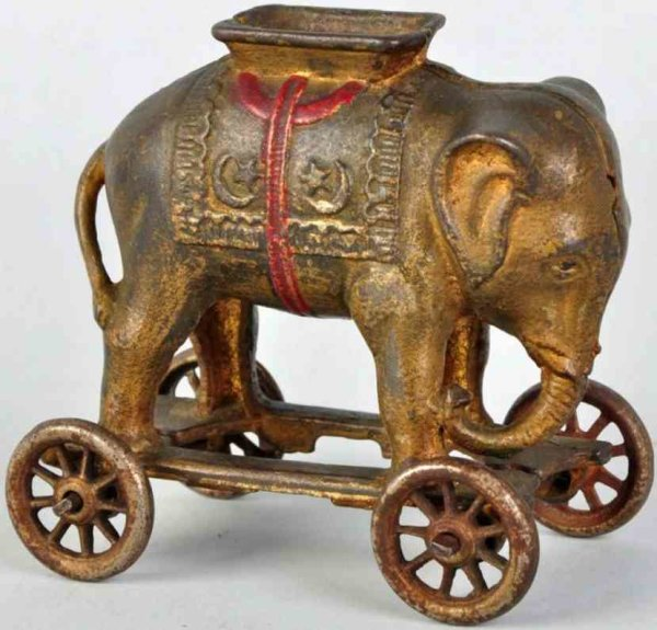 Williams AC Cast-Iron-Mechanical Banks Cast iron elephant on wheels still bank