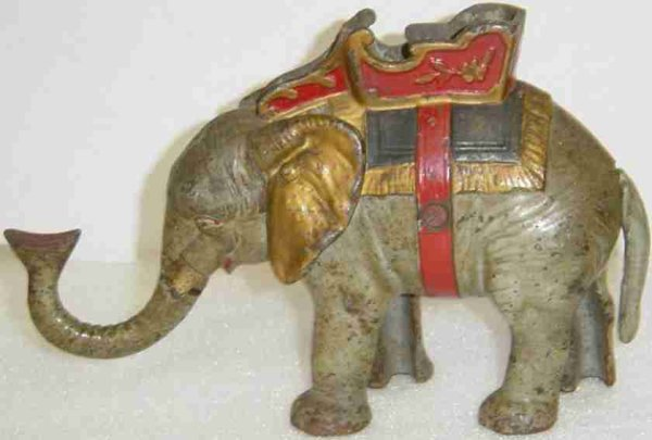 Hubley Cast-Iron-Mechanical Banks Elephant and Howdah mechanical bank. Figural bank where coin