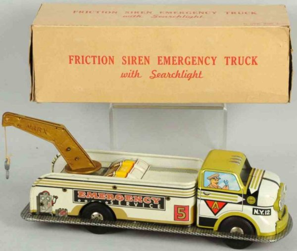 Marx Tin-Trucks Tin lithographed friction emergency service truck, includes