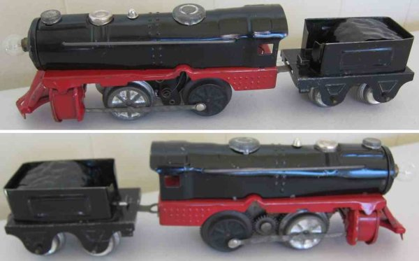 Girard Railway-Locomotives Clockwork locomotive with tender in black and red from the J