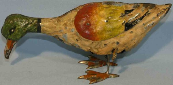 Guenthermann Tin-Animals Large mallard duck windup toy. Made of tin, hand painted in