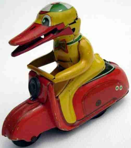 Guenthermann Tin-Figures Duck onto Scooter with friction drive, lithographed, marked