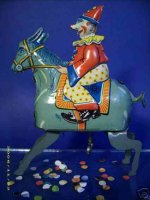 Guenthermann Tin-Clowns circus clown on donkey wind-up,...