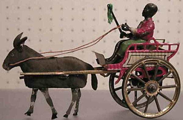 Guenthermann Tin-Carriages Coach with donkey lithographed with golden wheels, donkey ha