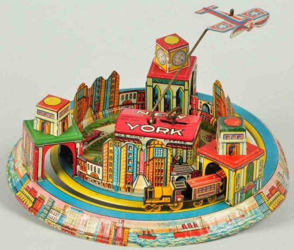 Marx Tin-Toys Honeymoon Express New York tin lithographed toy with wind-up