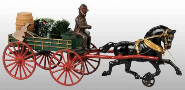 Hubley Cast-Iron-Carriages Express wagon in green with red spoked wheels, one black hor