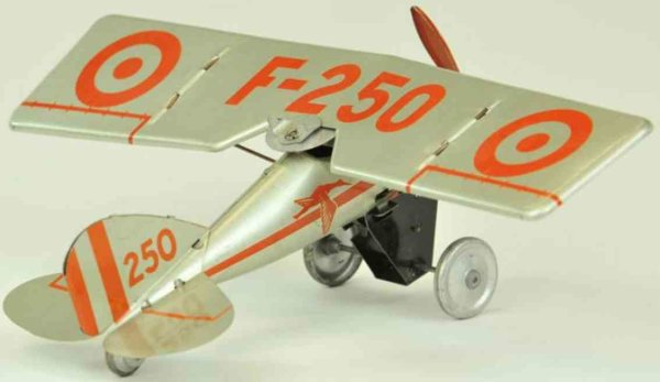 JEP Tine Ariplanes Classic airplane F-250, single prop example, tin lithographe
