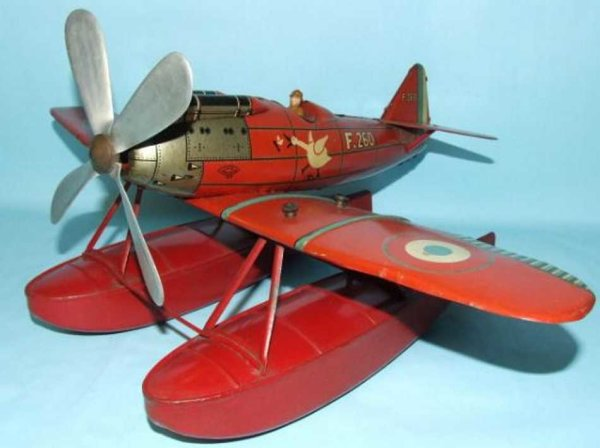 JEP Tine Ariplanes Sea Plane with Pontoons Tin Litho Mechanical Wind Up Toy Air