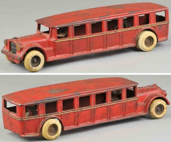 Arcade Cast-Iron buses Faegol bus, cast iron, done in red overall, roof and open wi