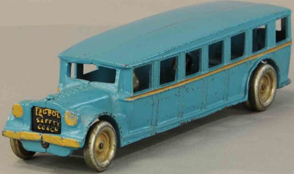 Arcade Cast-Iron buses Cast iron Fageol bus toy with original driver