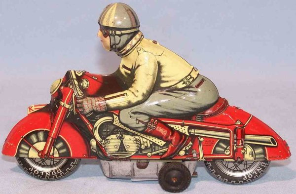 Huki - Kienberger Tin-Motorcycles Motorcyclist made of tin with flywheel drive, lithographed i