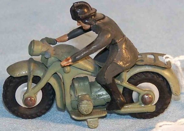 Maerklin Military-Motorcycles Motorcycle with rider made of zinc die cast, hand painted in