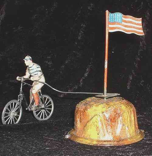 Guenthermann Tin-Figures Cyclist with Stars and stripes