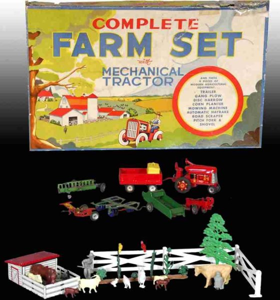 Marx Tin-Toys Farm Set with Mechanical Tractor