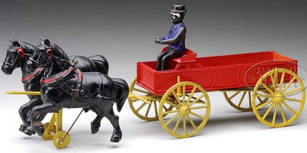Wilkins Cast-Iron-Carriages Farm wagon; Two black horses pulling a red wagon with yellow