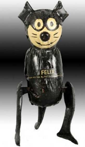 Guenthermann Tin-Figures Felix the cat with wind-up, hand painted, marked Felix by P