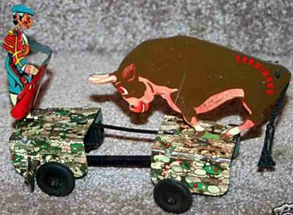Marx Tin-Figures Ferdinand & Matador of tin with wind-up mechanism. Marked 1