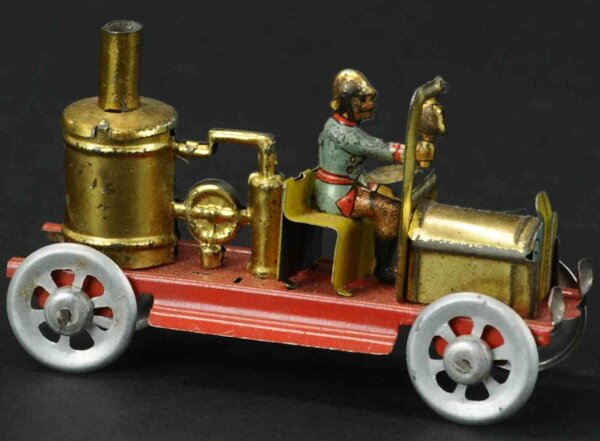 Meier Tin-Penny Toy Fire pumper with fireman, impressed in the ground Germany
